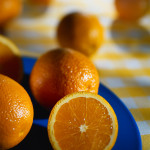 Oranges on a Blue Plate